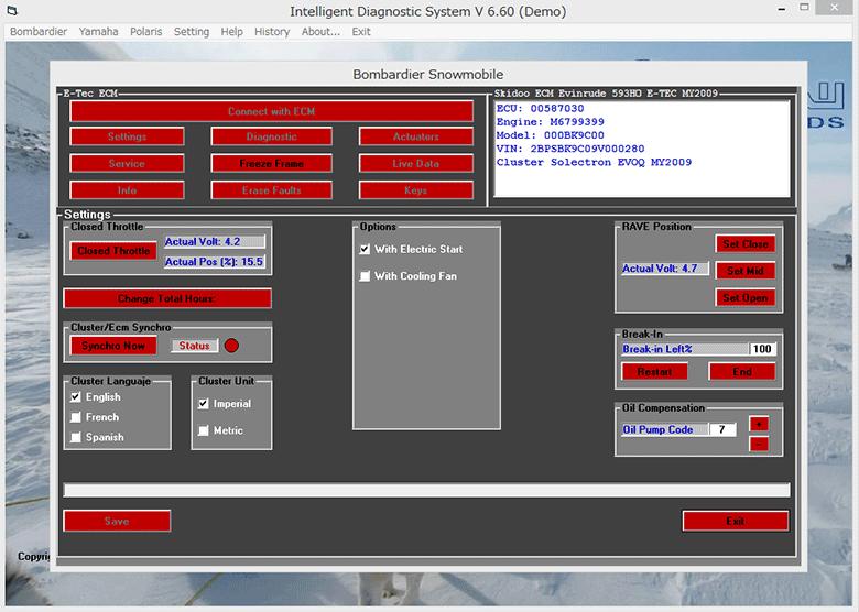 SKI-DOO 診断画面